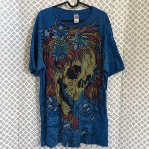 Ed Hardy skull & flames royal blue tee